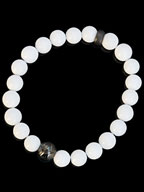 ONE STAR ONYX BALL BRACELET (MATTE BK / WHITE AGATE)