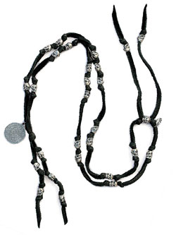 Skull Beads & Leather Necklace [N-10501]