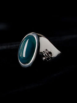 『Green Agate Ring with Lily Motif』 リング