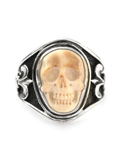 Sculpted Skull Ring - Mammoth Ivory