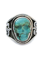 Sculpted Skull Ring - Turquoise