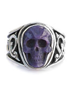 Sculpted Skull Ring - charoite
