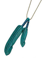 Leather Feather necklace (Blue)