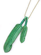 Leather Feather necklace (Green)
