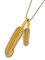 Leather Feather necklace (Yellow)