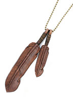 Leather Feather necklace (Brown)