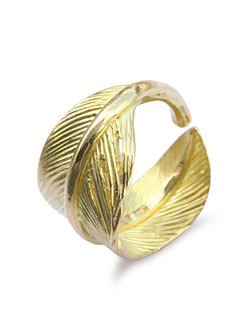 K18 Gold Wide Feather Ring