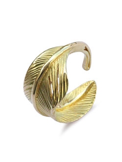 K18 Gold Small Feather Ring